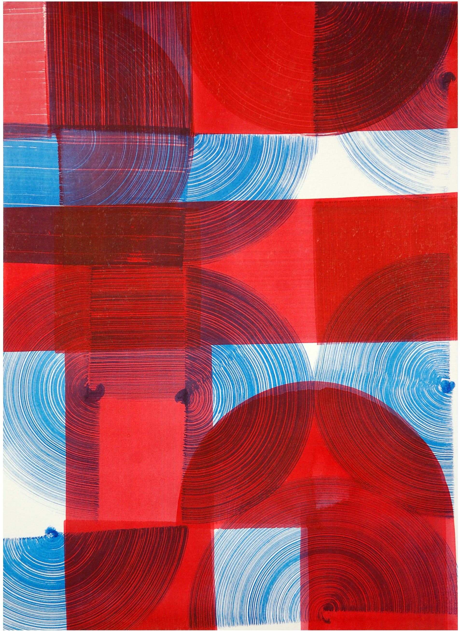 Carlos Silva, Red Blue (Mazy Drawing), 2016, ink on paper, 29,7x42 cm