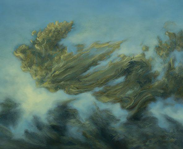 Gonzalo Ruelas, Alato, (2017), Öl auf Papier auf Leinwand, 120 x 80 cm (Detail)