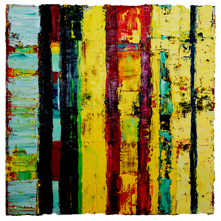 Angela Dwyer, Atomic, Öl auf Lwd., 2015/16, 100 x 100 cm