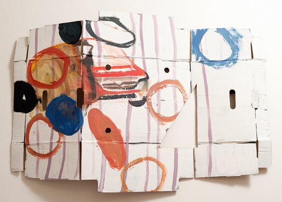 o.T. (Straße), 2014 acryl, oil on corrugated cardboard 62 x 90 cm