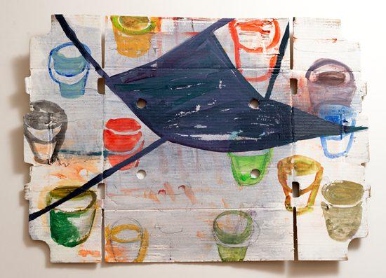 o.T. (Working), 2014 oil on corrugated cardboard 50,5 x 70 cm