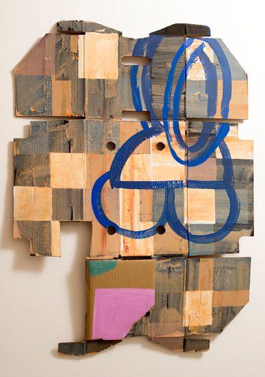 o.T. (Figuration), 2013 oil on currogated cardboard 95 x 67 cm