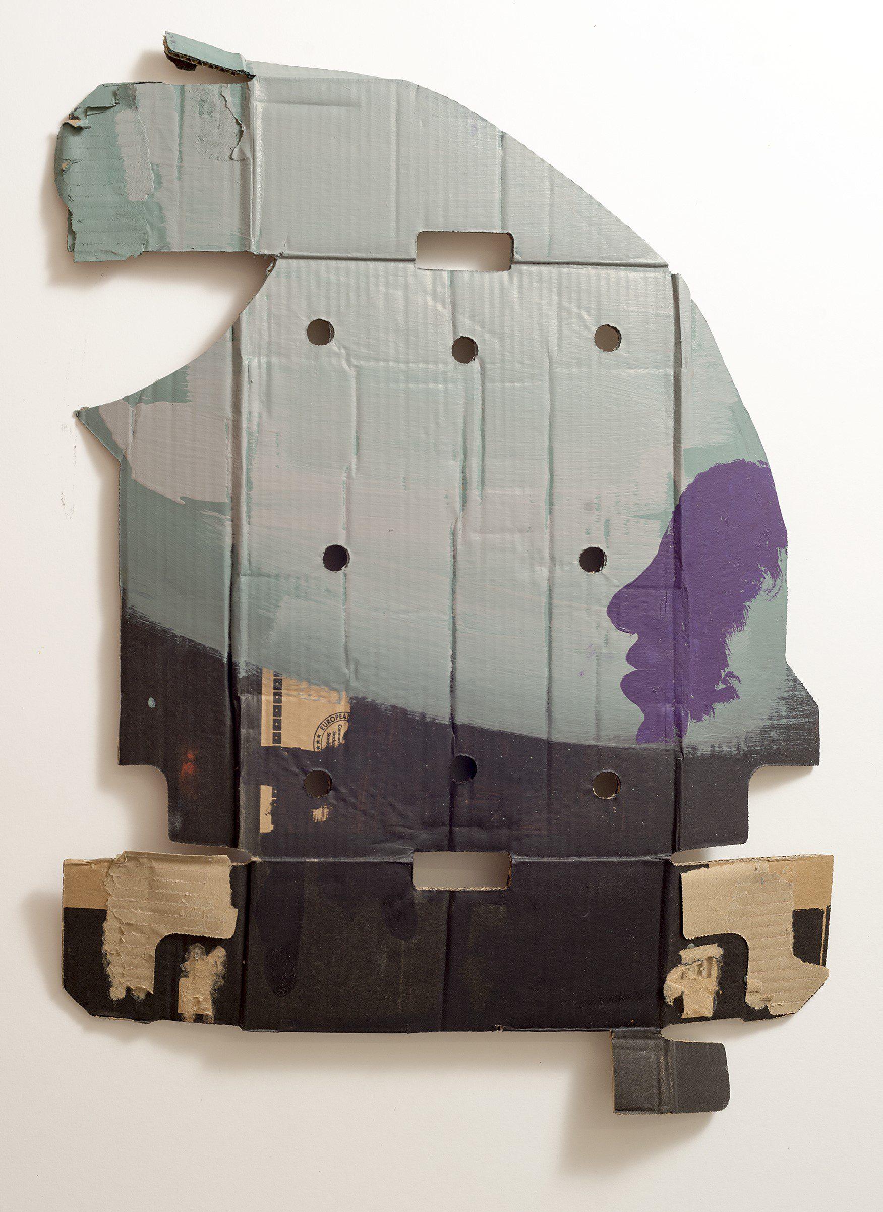 o.T. (Kleines Profil), 2014 oil on currogated cardboard 68 x 49 cm