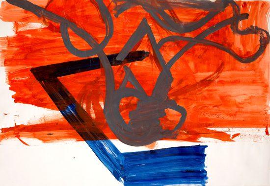 o.T. (Grau / Orange), 2013 gouache 70 x 100 cm