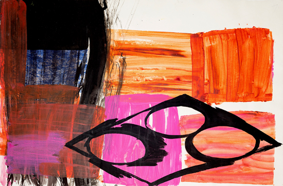 o.T. (Magenta / Engl. Rot), 2015 gouache, ink 70 x 100 cm