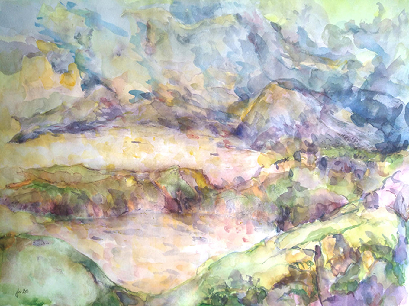 Die Bucht, 1990. Watercolor on paper. 62 x 46 cm, framed.