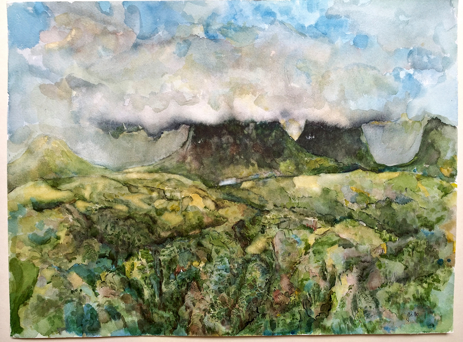 Die Wolke ‐ Lochinver, 1990. Watercolor on paper. 48 x 36 cm, framed.