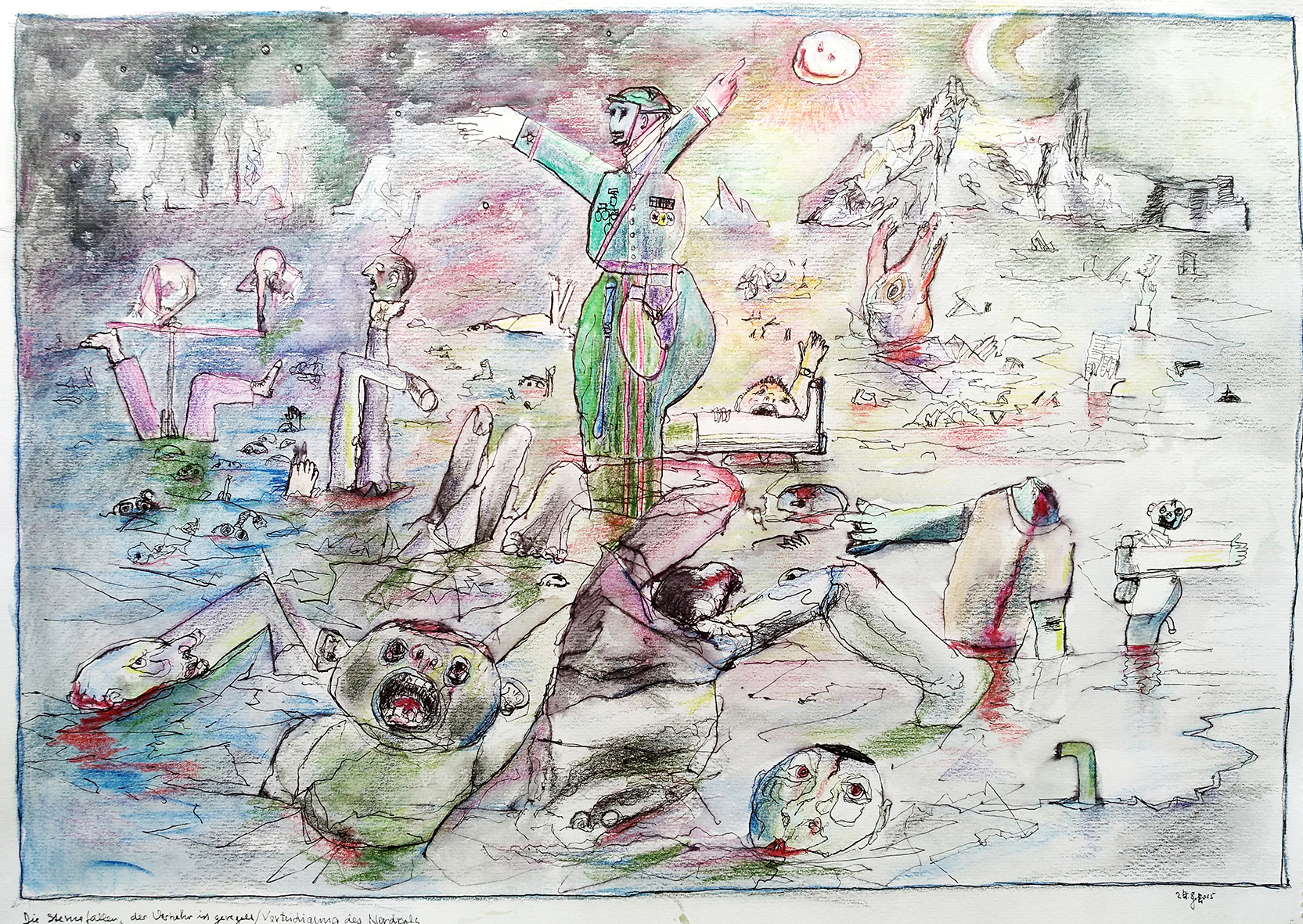 Verteidigung des Nordpols, 2015. Watercolor pen, ink on paper. 45,5 x 64 cm, framed.