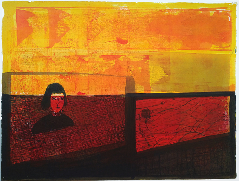 Besuch Chinesische Mauer, 2013, Tusche, Papier (Rives), 53 x 66 cm, framed