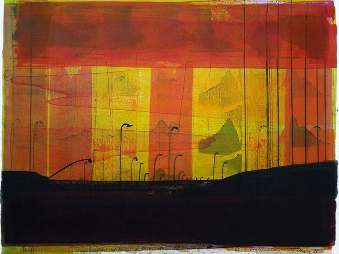 Exit Palermo, 2011, Tusche, Papier (Rives), 53 x 66 cm, framed