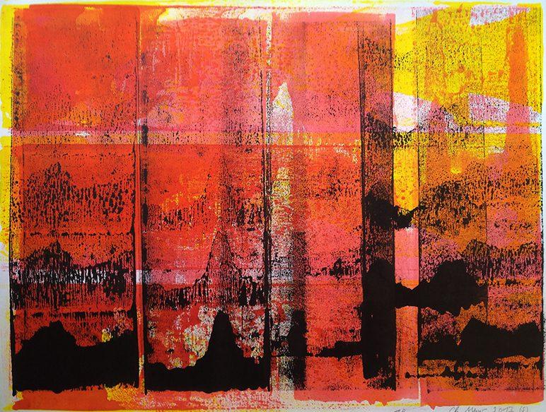 Japanisches Radio 2, 2017, Tusche, Papier (Rives), 53 x 66 cm, framed
