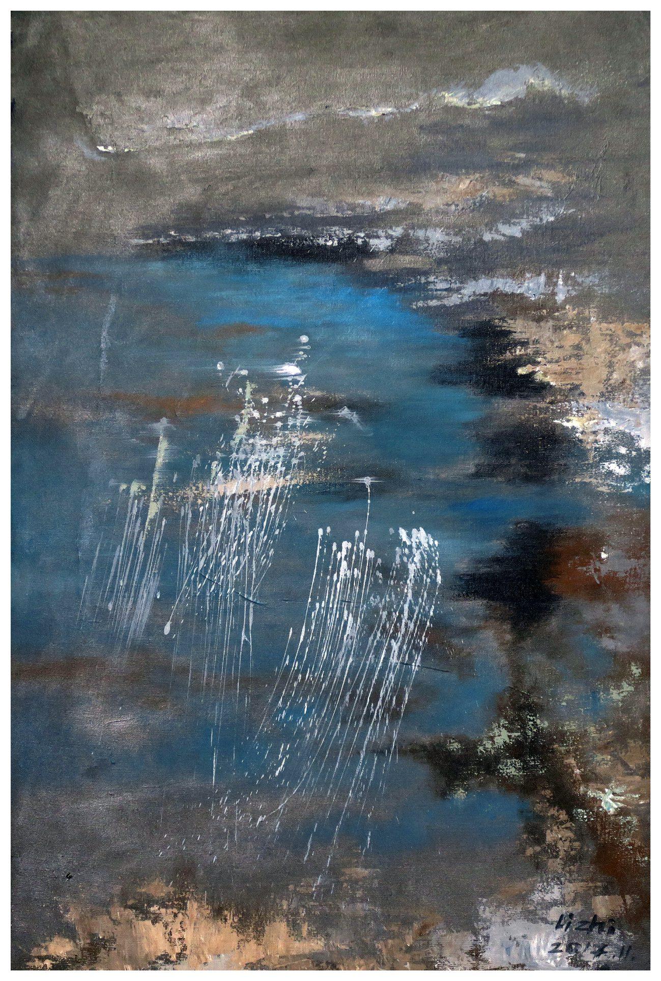 Li Zhi Spiegelung des Mondes in Wasserwellen 2017, Acrylic, propylene on canvas. 120 x 80 cm, framed.
