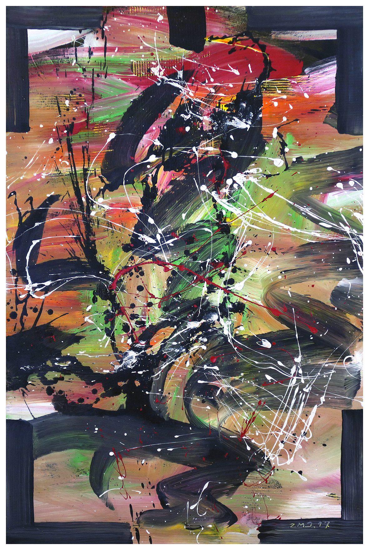 Zhao Mengjun Die Wildnis des Herzens 2017, Acrylic, propylene on canvas. 120 x 80 cm, framed.
