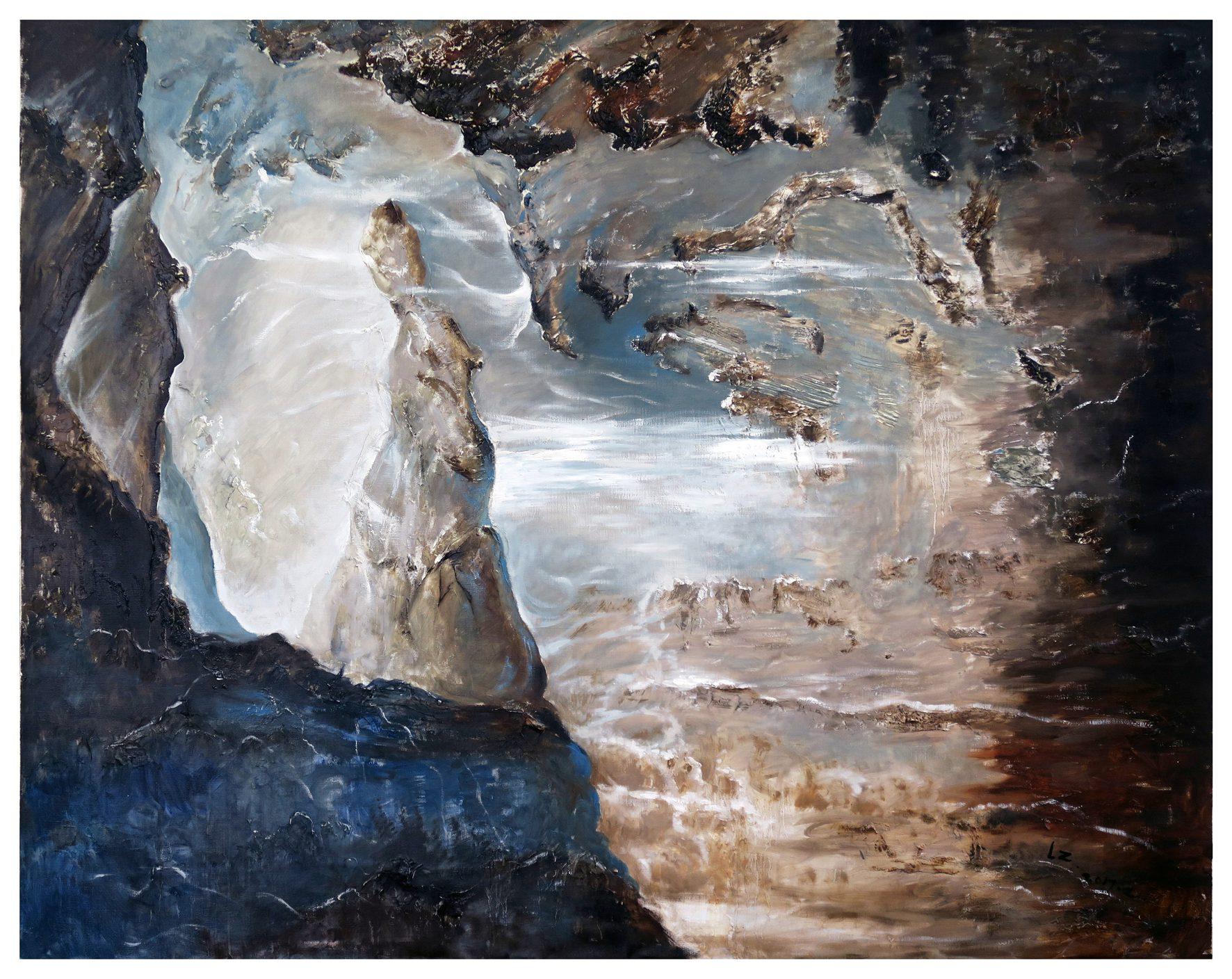 Li Zhi Die andere Seite des Sternenhimmels... 2017, Oil on canvas, 150 x 120 cm, framed.