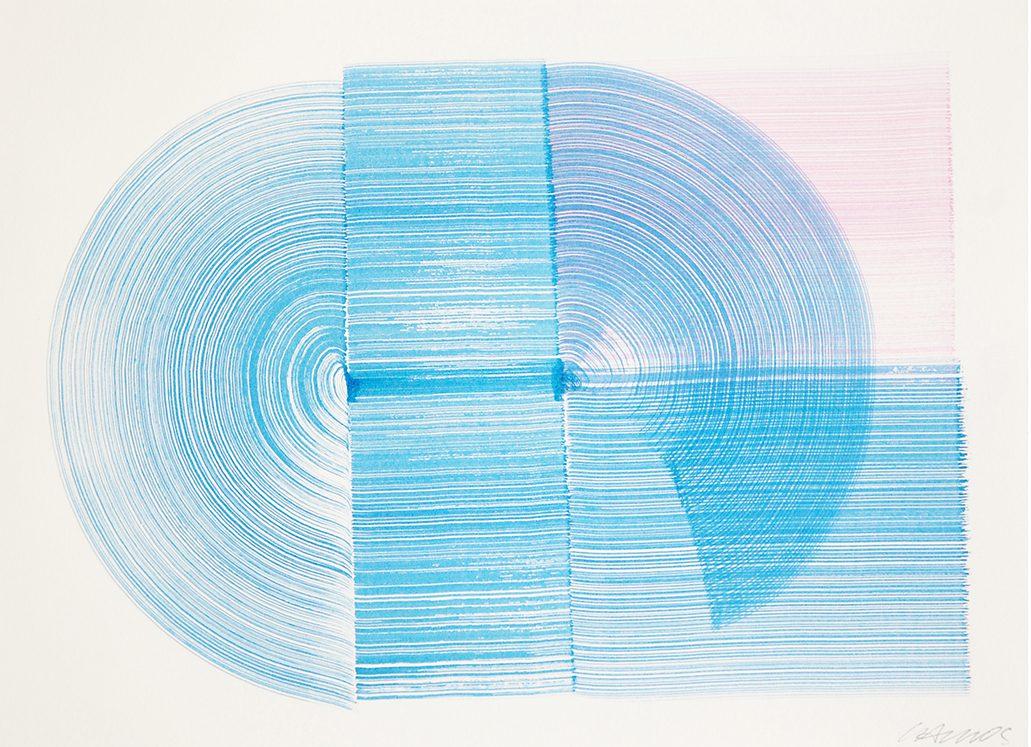Carlos Silva, Blue curve (Mazy Drawing 3) 2016. Ink on paper, 29,7 x 21 cm, framed.