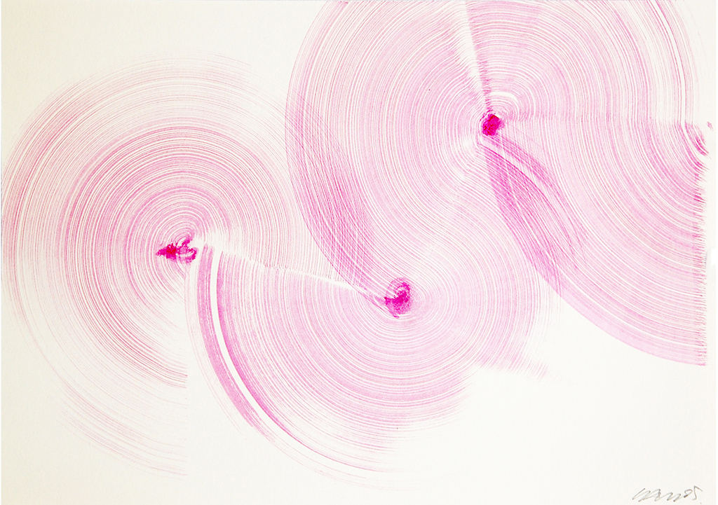 Carlos Silva, Magenta curves (Mazy Drawing 4) 2016. Ink on paper, 29,7 x 21 cm, framed.