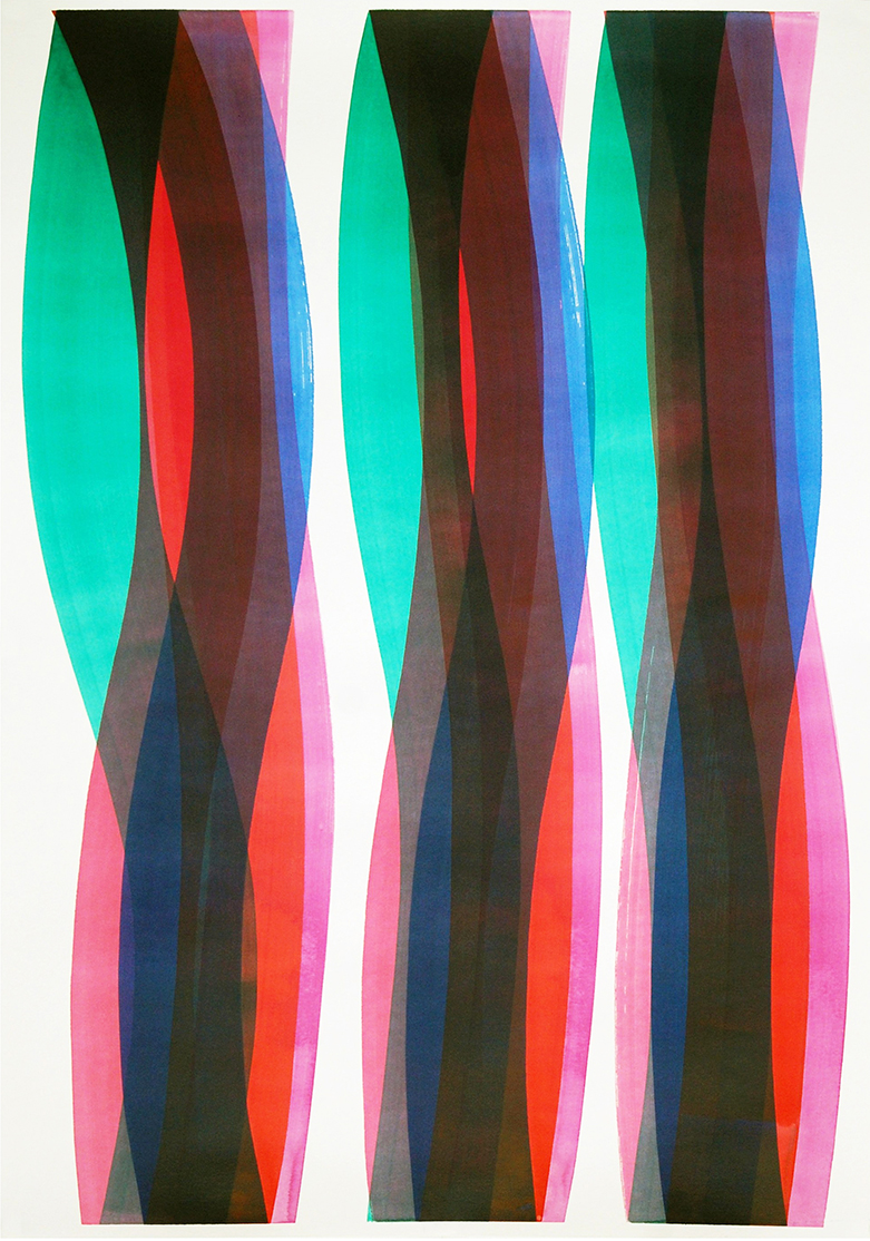 Carlos Silva, Elastic Thought 3, 2017. Ink and acrylic on paper, 70 x 100 cm, framed.