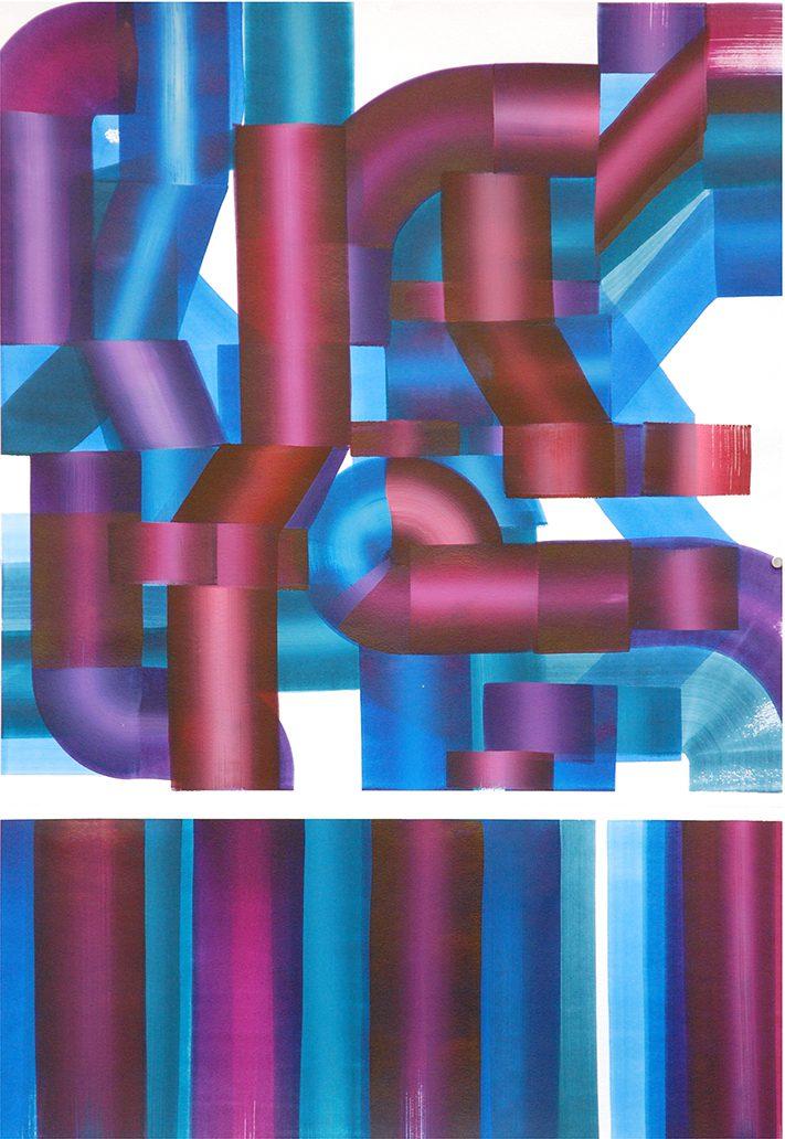 Carlos Silva, En face (Colourtexture 8) 2017. Ink and acrylic on paper, 70 x 100 cm, framed.