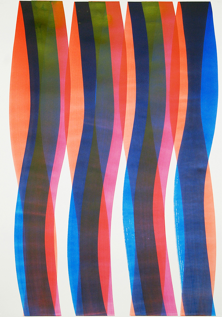 Carlos Silva, Elastic Thought 2, 2017. Ink and acrylic on paper, 70 x 100 cm, framed.