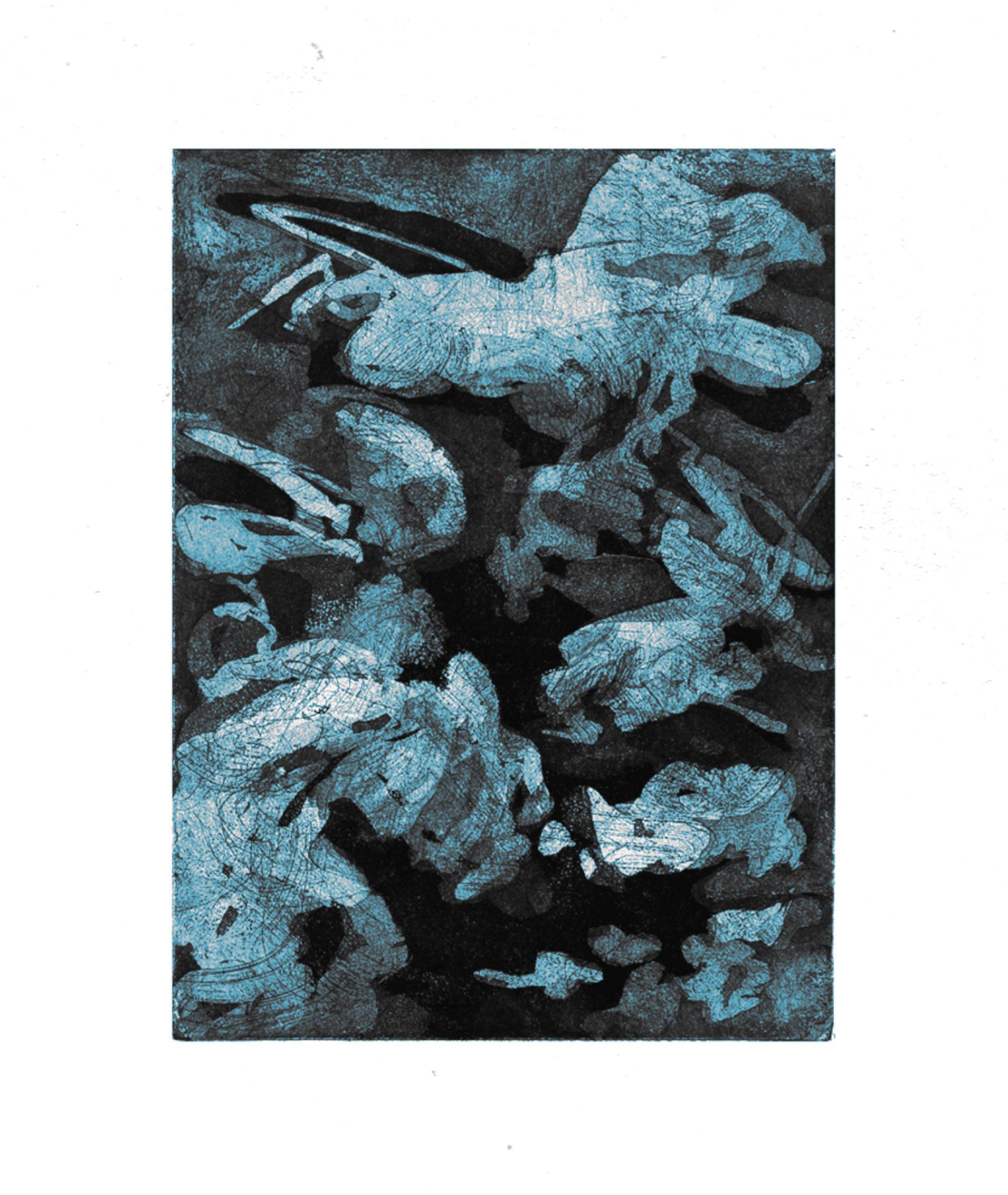 Ahondando, 2015. Aquatinta, Aquaforte on paper, 30 x 20 cm. Unique. Framed