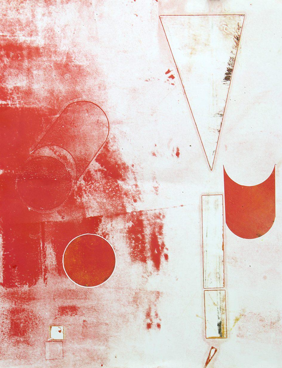 Rot im roten Kreis, 2018. Monotype, 70 x 100 cm. Unique. Framed