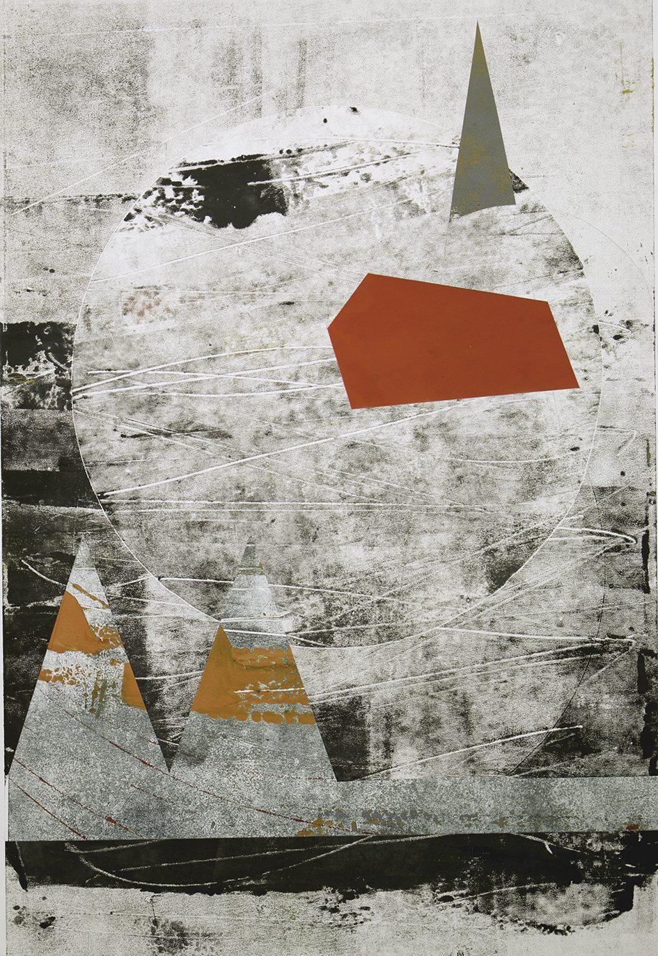 Landschaft mit Raute, 2018. Monotype, 70 x 100 cm. Unique. Framed